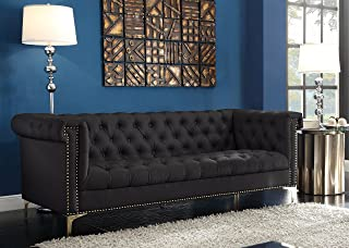 Iconic Home Winston PU Leather Modern Contemporary Button Tufted with Gold Nailhead Trim Goldtone Metal Y-shaped Feet Sofa Black
