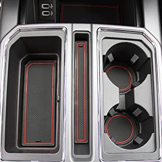 CupHolderHero for Ford F-150 2017-2020 Custom Fit Cup Holder, Door, and Center Console Liner Accessories 28-pc Set (F150 SuperCrew) (Red Trim)