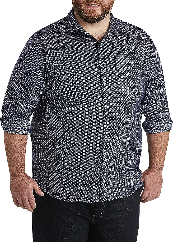 DXL Synrgy Big and Tall Geo Print Stretch Sport Shirt, Blue Multi