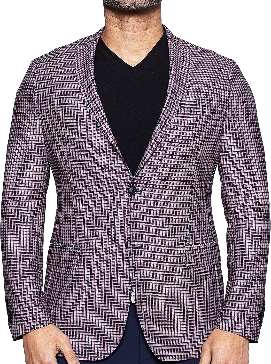 Maceoo Mens Designer Blazer - Night Out Stylish Sportswear - Unconstructed Houndstooth Blue - Tailored Fit