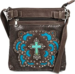Justin West Tooled Turquoise Stone Cross Laser Cut Crossbody Messenger Bag Handbag Purse with Concealed Carry and Phone Slot