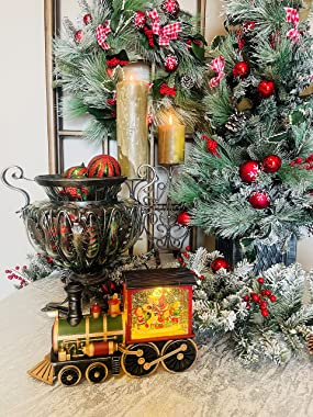 """Raz Imports Holiday Water Lanterns 12.25"""" Santa'S List Musical Lighted Water Train - Premium Christmas Holiday Home D"""