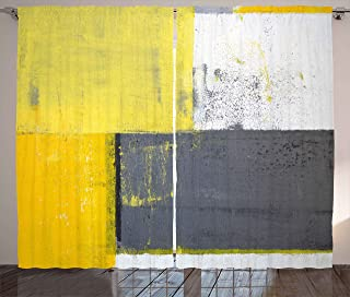 """Ambesonne Grey and Yellow Curtains, Street Art Modern Grunge Abstract Design Squares, Living Room Bedroom Window Drapes 2 Panel Set, 108"""" X 84"""", Charcoal Yellow"""