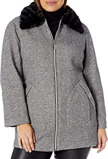 INTL d.e.t.a.i.l.s Women's Plus Size Soft and Easy Jacket with Sherpa Collar