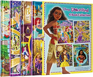 Disney Princess and Moana 4-Book Look and Find Collection with Slipcase PI Kids
