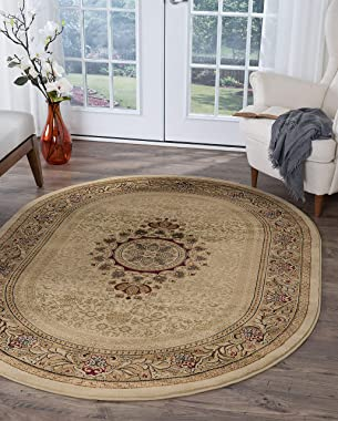 Jayden Ivory Modern and Traditional Oval 5x7 Area Rug 5x7 - Area Rugs for Living Room and Bedroom - Carpet Alfombras para Sal