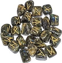 Labradorite Engraved 25 pcs Rune Stones for Chakra Balancing Reiki Healing EMF Protection Gemstone Aura Cleansing Energy Generator Spiritual Meditation Size 25-30 mm