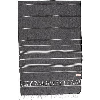 Bersuse 100% Cotton - Anatolia XL Throw Blanket Turkish Towel Pestemal - Bath Beach Fouta Peshtemal - Multipurpose Bed or Couch Throw, Table Cover or Picnic Mat - Striped - 61X82 Inches, Black