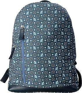 Blue Monkey Pattern Leather Trim Men's Backpack Bag
