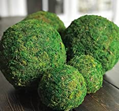4 Inch Decorative Moss Ball Orb for Home Decor, Vase Bowl Filler, Planters, Trays, Lanterns, Weddings, Parties, Farmhouse Rustic Style Decoration, Green, Handmade