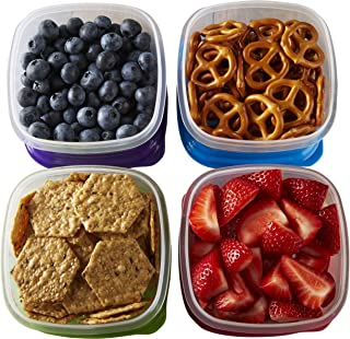 Fit & Fresh Stak Pak Portion Control 1-Cup Container Set, 4 BPA-Free Reusable Food Storage Containers and Ice Packs, Healt...