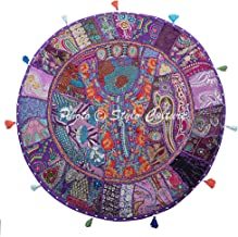 Stylo Culture Ethnic Outdoor Floor Cushion Cover Vintage Patchwork Yoga Pillow Case Purple 32x32 Large Decorative Bohemian...