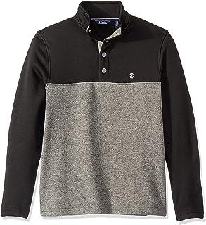 Izod Men's Premium Essentials Spectator Button Mock Neck Colorblock Fleece Pullover Sweater