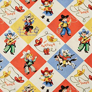 Michael Miller BC-493 Yippee Cowboy Retro Fabric by the Yard