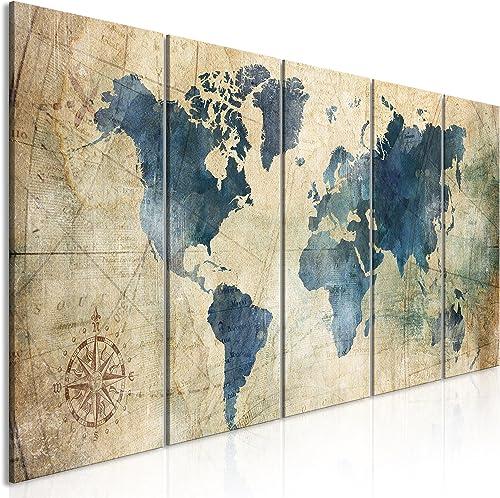 murando Impression sur Toile intissee Carte du Monde 200x80 cm Tableau 5 Parties Tableaux Decoration Murale Photo Ima...