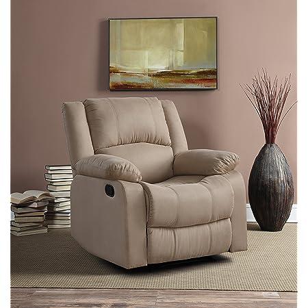 "Relax A Lounger Upholster Logan Multi-Function Microfiber Recliner Chair, Width 35.5"" x Depth 37.8"" x Height 39.37"", Beige"