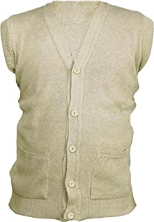4b71d8a6e3 Global Attire Mens Classic Sleeveless Button Cardigan Plain with Two Front  Pockets