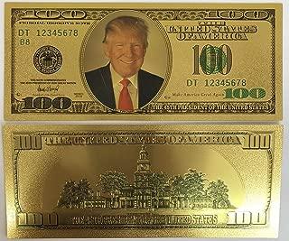 Aizics Mint More Than a Trump Coin Authentic $100 President Donald Trump 24kt Gold Plated Commemorative Bank Note; Unique Collectors Item
