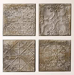 Creative Co-Op Square Embossed Tin Wall Tiles (Set of 4 Designs)