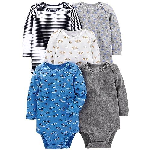 dc4ea155340 Simple Joys by Carter s Baby Boys  5-Pack Long-Sleeve Bodysuit
