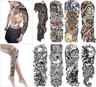 Tatuajes temporales de moda - 8 hojas de tatuajes grandes
