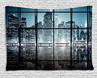 Ambesonne Modern Tapestry, Modern New York City Scenery at Night with Skyscrapers Buildings Print, Wide Wall Hanging for Bedroom Living Room Dorm, 80