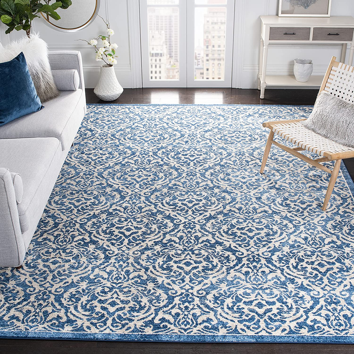 Safavieh Brentwood Collection BNT810N Living Damask 買い物 Non-Shedding 新商品