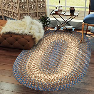 Hartford 5' X 8' Oval Braided Rug Indoor/Outdoor Rug Kitchen Rugs in Blue Sunroom/Porch Carpet