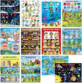 12 Kids Educational Posters For Preschool Toddlers | Double Laminated 13x18 | Classroom Posters for Daycare Homeschool Kin...