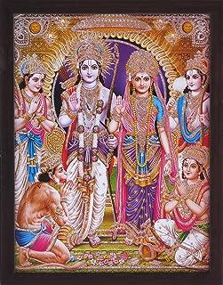 Hanuman Ram Darbar, A Hindu and Holy Religious Auspicious Gathering of Lord Ram, Sita and Laxman with Hanuman, A Hindu Religious Poster Painting with Frame for Hindu Religious and Gift Purpose.