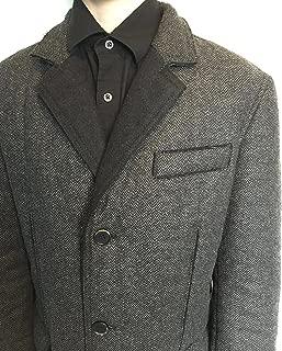 GMS-75 Men's Designer Coat Wool Blend Leather Trim Deconstructed Jacket Gray