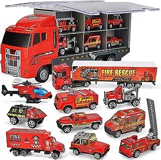 JOYIN 10 in 1 Die-cast Fire Truck Engine Vehicle Mini Rescue Emergency Fire Truck Toy Set in Carrier Truck