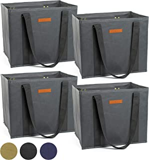 Reusable WASHABLE Grocery Shopping Cart Trolley Bags - set of 4 | Large, Durable, Collapsible Tote with Reinforced Sides and Bottoms (Grey, 4)
