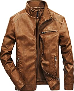 Men's Stand Collar Leather Jacket Motorcycle Lightweight Faux Leather Outwear
