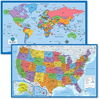 """2 Pack - World Map for Kids + Blue Ocean USA Map (Laminated, 18"""" x 29"""")"""