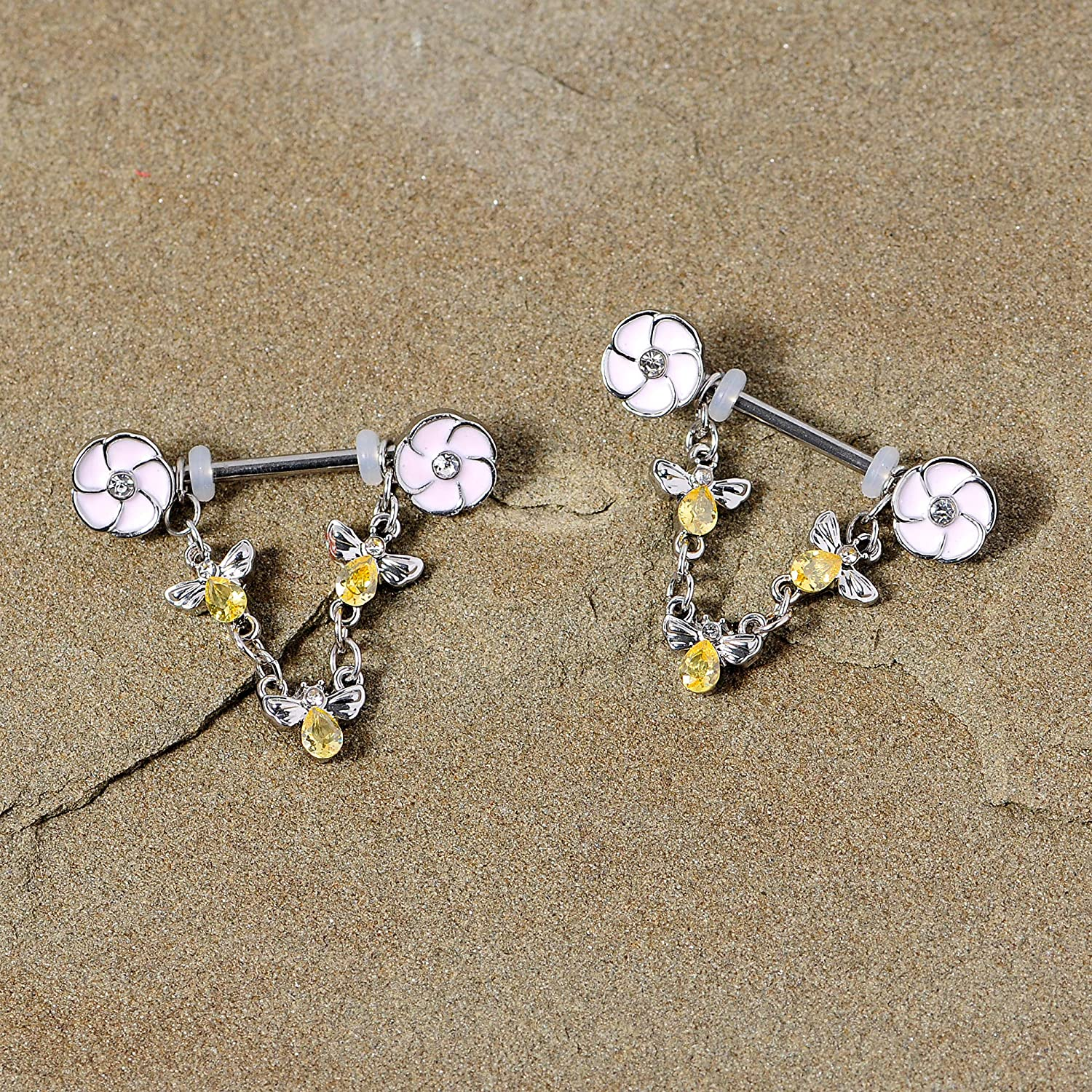 Body Candy 14G Womens Nipplerings Piercing Steel 2Pc Yellow Accent Flower Bee Dangle Nipple Ring Set 5/8