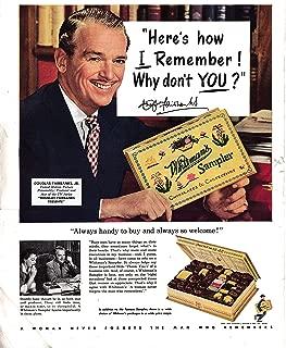 1953 Douglas Fairbanks Jr Whitman's Sampler Chocolates-Original 13.5 * 10.5 Magazine Ad