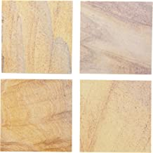 Thirstystone Brand Rainbow, Multicolor All Natural Sandstone-Durable Stone with Varying Patterns, Every Coaster is an Original, 4 Square, Metal Holder