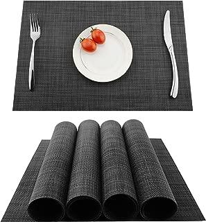 KOKAKO Placemats Washable Dining Table Place Mats PVC Kitchen Table Mats,Set of 4(Dark Gray)