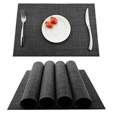 KOKAKO Placemats Washable Dining Table Place Mats PVC Kitchen Table Mats,Set of 4(Dark Gray)