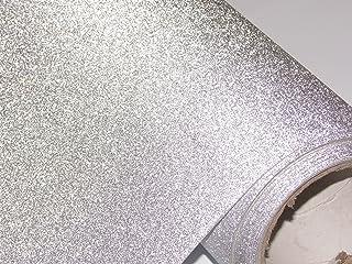 CVANU Glitter Silver Self Adhesive Shelf Liner Film Vinyl Peel-Stick Multipurpose Roll, 12X36 inch
