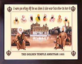 Guru Gobind Singh ji and Gurunank Dev ji Sikh gurus giving blessings sitting outside Golden Temple with ten sikh guru's, A Sikh Religious painting poster with frame, must for Sikh family home / offi