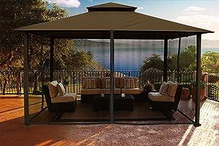 Paragon Outdoor Santa Cruz Gazebo 11x14 ft with Sunbrella Roof and Mosquito Netting, (Cocoa Conopy)
