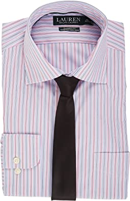 Non Iron Poplin Stretch Classic Fit Spread Collar Stripe Dress Shirt