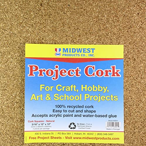 la calidad primero los consumidores primero Midwest Products 3041 Square Project Cork, 0.1875 by 12 12 12 by 12-Inch, Natural by Midwest Products Co.  comprar mejor