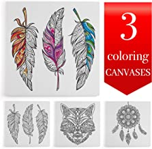 Coloring Canvases for Adults, 12x12 inches, Set of 4 Stretched Canvases, Best Gift for Coloring Book Lover) (Tribal)