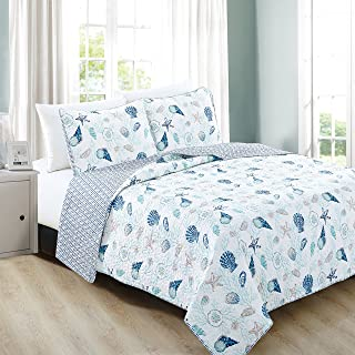 Home Fashion Designs 3-Piece Coastal Beach Theme Quilt Set with Shams. Soft All-Season Luxury Microfiber Reversible Bedspread and Coverlet. Bali Collection Brand. (Full/Queen, Coral)