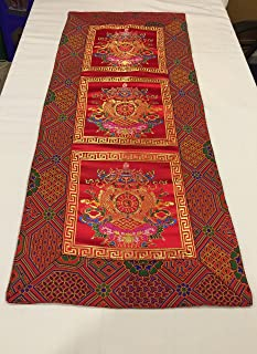 36 x 86 cm Tibetan Buddhist red Auspicious Symbol Silk Brocade Table Runner/Shrine Cover/Altar Cloth/Table Cover