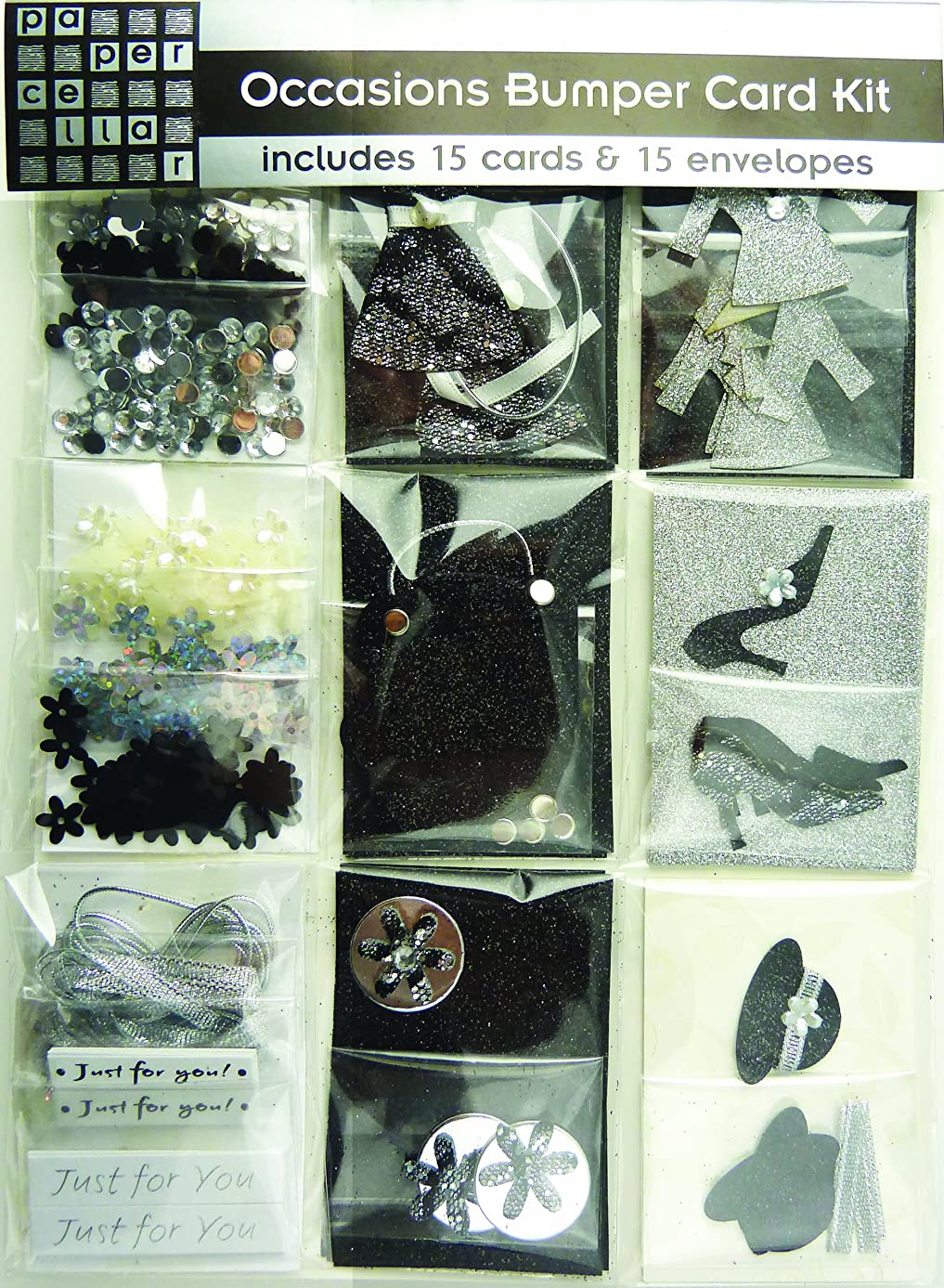 Paper Cellar Occasions Card Kit, Black and Silver