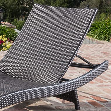 Christopher Knight Home Salem Outdoor Wicker Adjustable Chaise Lounge Chair, 2-Pcs Set, Multibrown